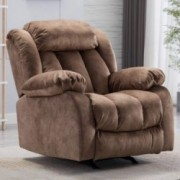 CANMOV Rocker Recliner Chairs for Living Room, Heavy Duty Reclining Chair with Contemporary Overstuffed Arms and Back, Camel
