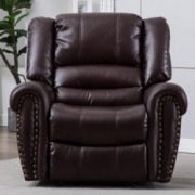 BONZY HOME Leather Recliner Chair 300LBS Heavy Duty Breathable Bonded Classic Single Sofa Manual Home Theater Seating Ergonom