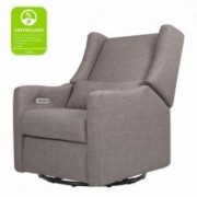 Babyletto Kiwi Electronic Power Recliner and Swivel Glider with USB Port, Grey Tweed