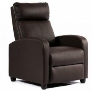 FDW Wingback Recliner Chair Leather Single Modern Sofa Home Theater Seating for Living Room, Black  Brown   Renewed