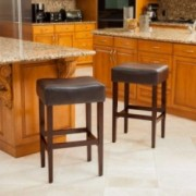 Duff Backless Brown Leather Counter Stools (Set of 2)
