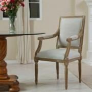 Martin Oak Natural Fabric Rattan Arm Chair