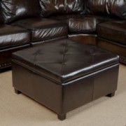Reagan Espresso Leather Storage Ottoman