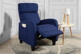 Living Room Slim Manual Recliner Chair  Dark Blue