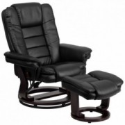 Flash Furniture Contemporary Multi-Position Recliner with Horizontal Stitching and Ottoman with Swivel Mahogany Wood Base in