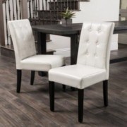 Gillian Ivory Leather Dining Chairs (Set of 2)