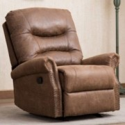 CANMOV Leather Rocker Recliner Chair, Classic and Retro Design 1 Seat Sofa Manual Reclining Chair with Lateral Pocket and Ove