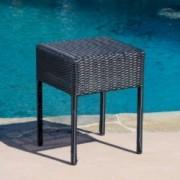 Edgar Outdoor Black Wicker Side Table