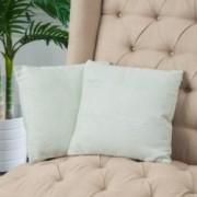 """16.5"""" Light Teal Green Jacquard Fabric Throw Pillows (Set of 2)"""