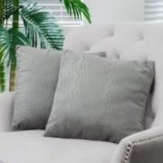 """16.5"""" Grey Jacquard Fabric Throw Pillows (Set of 2)"""