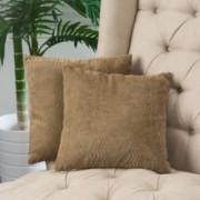 """16.5"""" Brown Jacquard Fabric Throw Pillows (Set of 2)"""