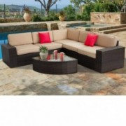 SUNCROWN Outdoor Furniture 6-Piece Patio Sofa and Wedge Table Set, All-Weather Brown Wicker with Washable Seat Cushions and G