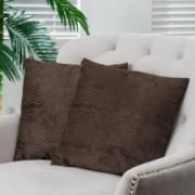 "16.5"" Dark Brown Jacquard Pillows (Set of 2)"