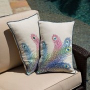 "18"" Multicolored Peacock Feathers Throw Pillows (Set of 2)"