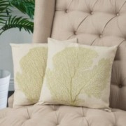 "18"" Beige Embroidered Tree Linen Throw Pillows (Set of 2)"