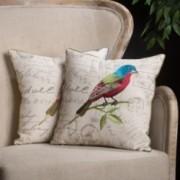 "18"" Embroidered Bird Pillows (Set of 2)"