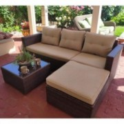 SUNSITT Outdoor Sectional Sofa 4 Piece Furniture Set All Weather Brown Wicker with Beige Seat Cushions, Ottoman & Glass Coffe