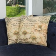 "18"" Floral Script Pattern Throw Pillows (Set of 2)"