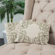 "18"" Beige Green Leaf Embroidered Throw Pillows (Set of 2)"