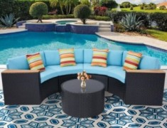 Oakmont Outdoor Sectional Sofa 5-Piece Half-Moon Patio Furniture Set | All-Weather Garden Sofa W/Round Tempered Glass Top Tab