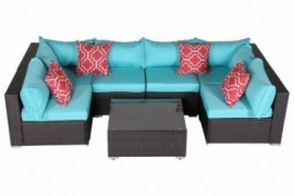 Do4U Patio Sofa 7-Piece Set Outdoor Furniture Sectional All-Weather Wicker Rattan Sofa Turquoise Seat & Back Cushions, Garden