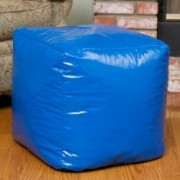 Jamie Blue Vinyl Square Kids Bean Bag