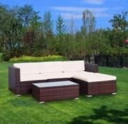 YOUKE 5 PCS Patio PE Rattan Wicker Sofa Sectional Furniture Set,Garden Lawn Pool Backyard Outdoor Sofa Wicker Conversation Se