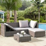 Tangkula 3PC Patio Rattan Sofa Set Outdoor Garden Patio Wicker Rattan Adjustable Steel Frame Conversation Sofa Furniture Set