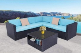 Oakmont Outdoor Patio Furniture 4Pcs Conversation Sectional Sofa with Premium Wicker, Sturdy Frame, Thick Sky Blue Cushions a