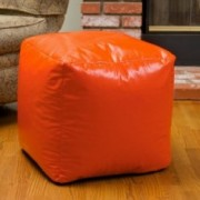 Jamie Orange Vinyl Square Kids Bean Bag