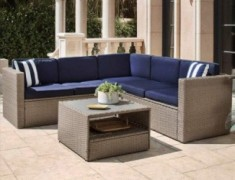 SOLAURA Outdoor 4-Piece Furniture Sectional Sofa Set All Weather Warm Grey Wicker with Nautical Navy Blue Cushions & Sophisti