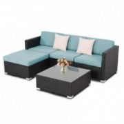 Incbruce 5Pcs Outdoor Patio Furniture Sets, Wicker Rattan Sectional Sofa with Blue Cushions and Beige Pillows,Black and Sky B