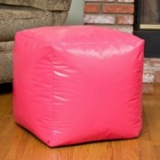 Jamie Pink Vinyl Square Kids Bean Bag