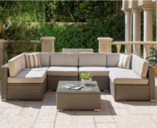SOLAURA Outdoor Furniture Set 7-Piece Wicker Furniture Modular Sectional Sofa Set Light Gray Wicker Light Gray Olefin Fiber C