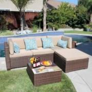Patiorama 5 Pieces Outdoor Patio Furniture Sets Rattan Sofa Wicker Set, Outdoor Backyard Porch Garden Poolside Balcony Furnit