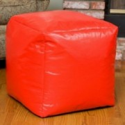 Jamie Red Vinyl Square Kids Bean Bag