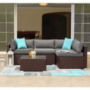 COSIEST 5-Piece Outdoor Patio Furniture Chocolate Brown Wicker Executive Sectional Sofa w Dark Grey Thick Cushions, Glass-Top