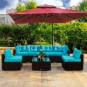 Amooly 7 Pieces Patio PE Rattan Sofa Set Outdoor Sectional Furniture Wicker Chair Conversation Set with Cushions and Tea Tabl