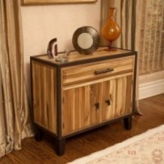 Glendora Natural Stained Solid Wood Storage Chest Nightstand