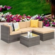 Wisteria Lane Outdoor Sectional Patio Furniture,5 Piece Wicker Rattan Sofa Couch with Ottoma Conversation Set Gray Wicker,Bei