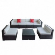 Welpatio 7 PCs Outdoor PE Rattan Wicker Furniture Sectional Conversation Sofa Set with Tea Table, Cushions & Pillows