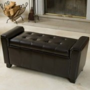Bosworth Tufted Espresso Leather Storage Ottoman