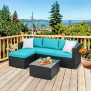 Walsunny Outdoor Rattan Sectional Sofa- Patio Wicker Furniture Set  Blue