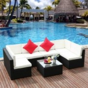 M&W 7 Pieces Patio Sofa Set, PE Wicker Rattan Outdoor Sectional Furniture, 6 Cushioned Chairs and 1 Glass Coffee Table for La