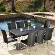Tampa 9-piece Outdoor Black Wicker Dining Set