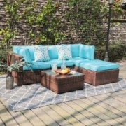 OC Orange-Casual 5 Piece Outdoor Furniture Sectional Sofa, Patio Brown PE Rattan Wicker Sofa with Turquoise Cushions & Modern