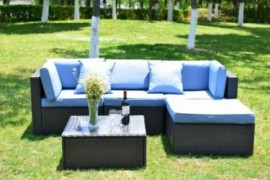 GOJOOASIS Outdoor Patio PE Wicker Rattan Sofa Sectional Furniture Conversation Set with Cushion and Pillow, Steel Frame, Blac