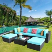 Furnimy 7PCS Outdoor Patio Furniture Sets Sectional Conversation Sofa Set Espresso Rattan Wicker with Cushions and Tempered G