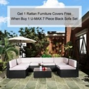 U-MAX 7 Pieces Patio PE Rattan Wicker Sofa Set Outdoor Sectional Furniture Conversation Chair Set with Cushions and Tea Table