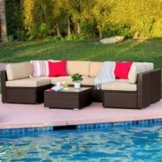 Best Choice Products 7-Piece Modular Outdoor Patio Rattan Wicker Sectional Conversation Sofa Set w/ 6 Chairs, Coffee Table, W
